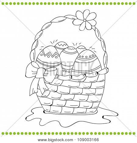 Outlined Easter basket of eggs
