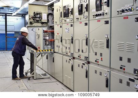 Switch Room, Electrical Engineer Control Switchgear Panel.