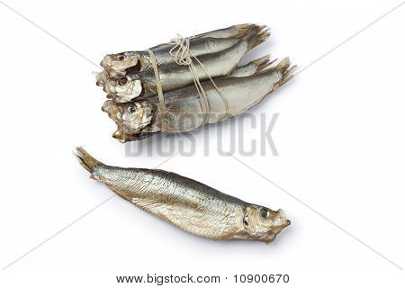 Bunch of smoked pearlsides fishes Maurolicus muelleri on white background poster