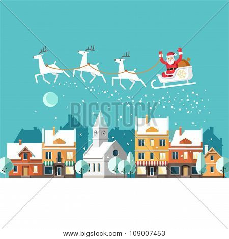 Santa Claus on Sleigh and his Reindeers Winter Town Urban Winter Landscape