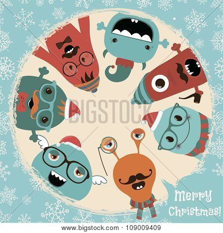 Hipster Retro Freaky Monsters Christmas Card Design