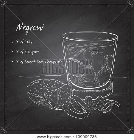 Negroni alcoholic cocktail on black board