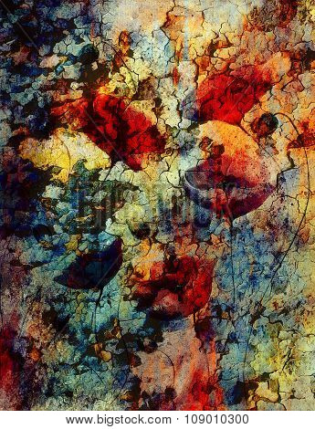 Painting poppy on color background. Red flower on abstract color background with desert crackle stru