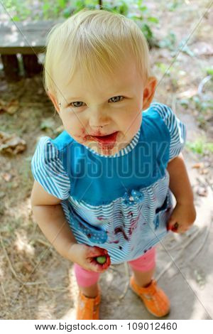 Nice Baby After Eating Ripe Berries