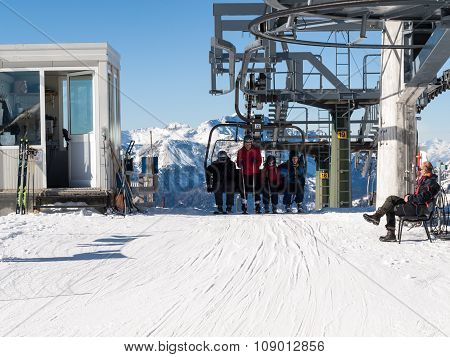 DOLOMITES ALPS, ITALY - FEB 16, 2015: Skiing area in the Dolomites Alps. Overlooking the Sella group in Val Gardena. Italy