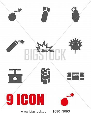 Vector grey bomb icon set