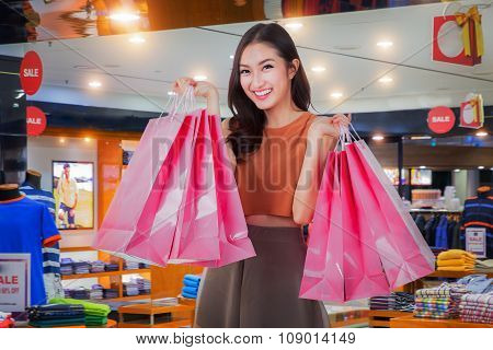 Asian Girl Happy Enjoy Shopping
