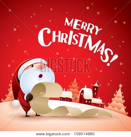 Merry Christmas! Santa Claus checking list in Christmas snow scene.