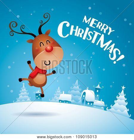 Merry Christmas! Christmas Reindeer jumping up in Christmas snow scene.