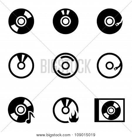 Vector black cd icon set