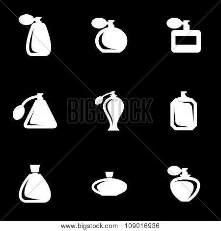 Vector white perfume icon set