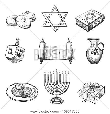 Illustration set of element for hanukkah