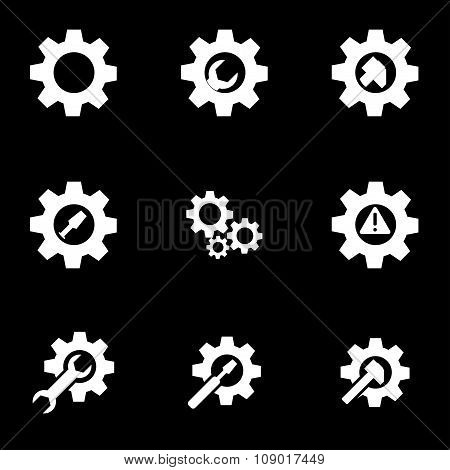 Vector white tools in gear icon set