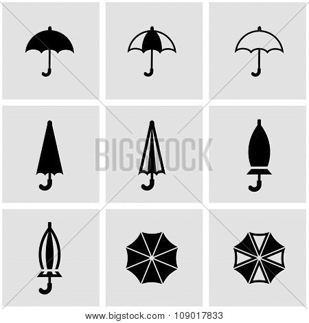 Vector black umbrella icon set