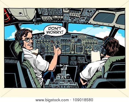 Aircraft cockpit pilots airplane captain