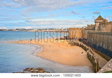 Atlantic Beach Under The Towers Of City Walls In St Malo, Brittany, France