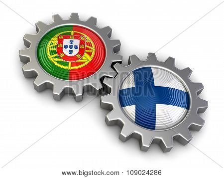 Portuguese and Finnish flags on a gears (clipping path included)