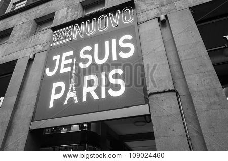 A Big Led Display Showing The Phrase Je Suis Paris In Milan, Italy