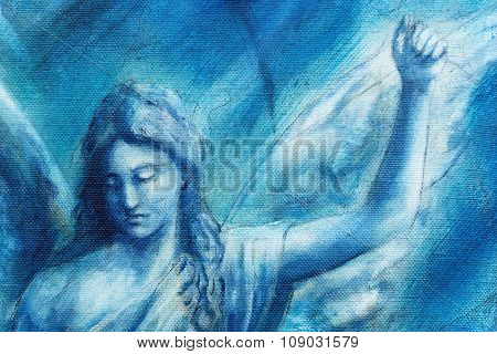 Spiritual Angel painting on canvas with blue abstract background poster