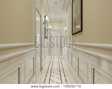 Corridor In Classic Style In White And Yellow Colors.