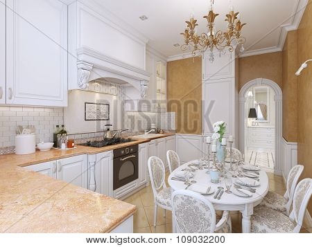 Kitchen In The Style Of Provence With A Dining Table.