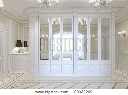 The entrance hall with a large white wardrobe with mirror and a chest of drawers for shoes art nouveau. 3D render. poster