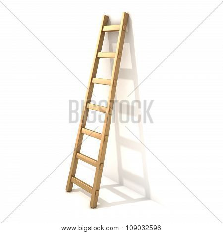 Wooden ladder near white wall. 3D render