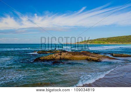 Surf Fishing at One Mile Beach, Port Stephens, Australia