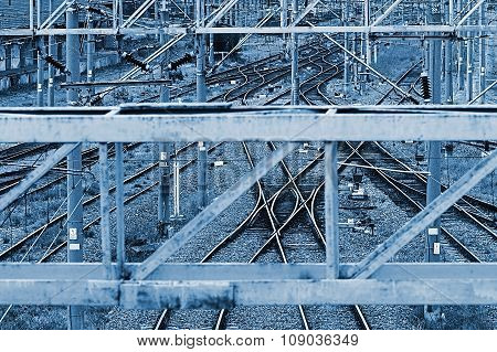 Railway Junction In Blue Background 6