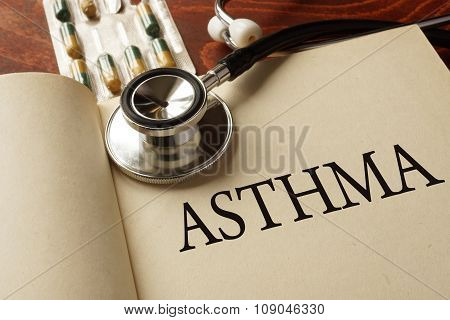 Book with diagnosis Asthma. Medic concept.