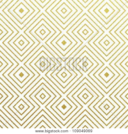 Geometric gold glittering seamless pattern on white background.
