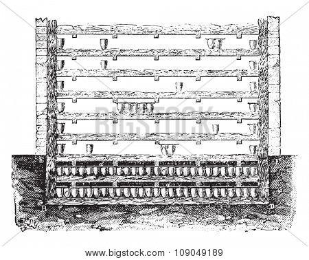 Fosse Liming, vintage engraved illustration. Industrial encyclopedia E.-O. Lami - 1875.