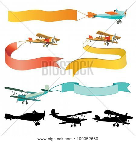 Vector flying airplanes with empty banners