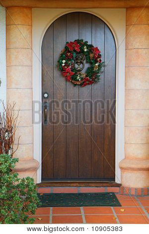 Dark Wood Christmas Door