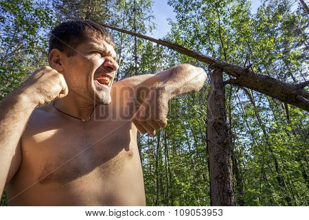 Young Man Portrays Aggression
