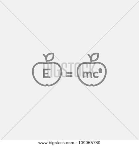 Two apples with formulae line icon for web, mobile and infographics. Vector dark grey icon isolated on light grey background.