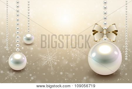 Christmas background beige with glossy balls and snowflakes, christmas vector illustration.