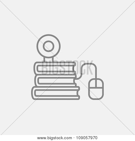 Computer mouse connected to a stack of books with webcam on it line icon for web, mobile and infographics. Vector dark grey icon isolated on light grey background.