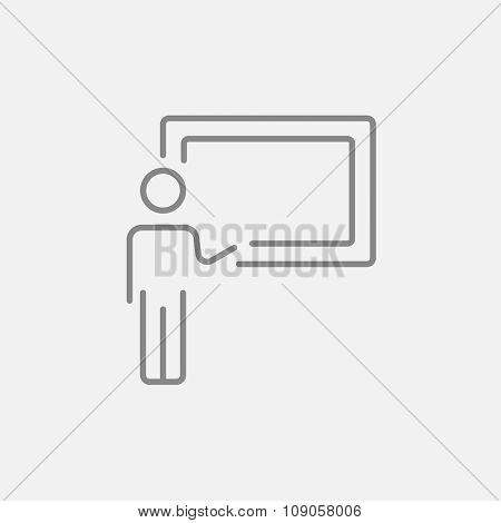 Professor pointing at blackboard line icon for web, mobile and infographics. Vector dark grey icon isolated on light grey background.