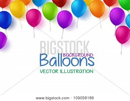 Colorful Bunch of Happy Birthday Balloons Vector Background