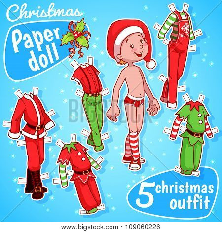 Christmas Paper Doll With Five Outfits.