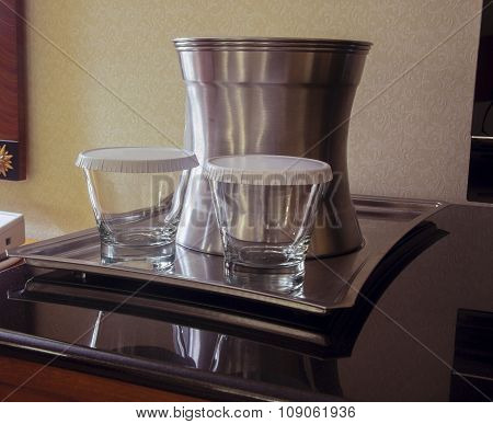 Steel Tray With Two Tumblers  And Bucket For Ice