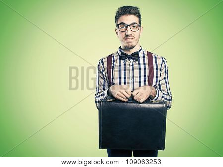 Young shy nerd with case in hands . poster