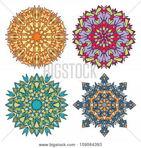 Set Of Four Stained Glass Mandalas