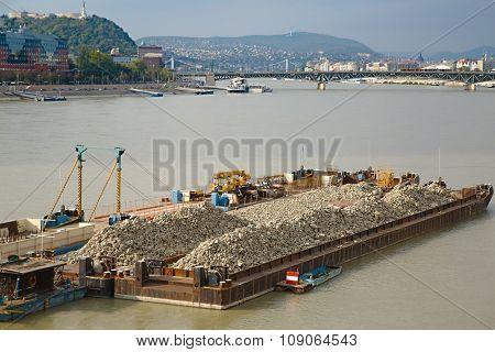 Cargo transportation on the river Danube poster
