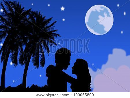 Romantic Couple Under The Full Moon