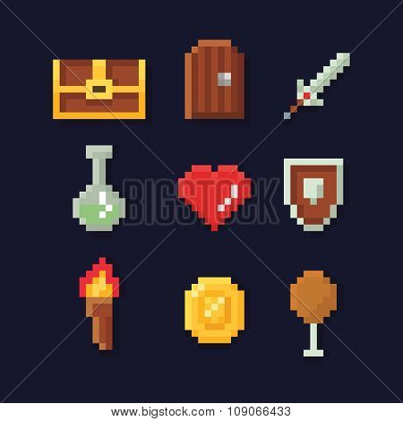 Vector pixel art illustration isons for fantasy adventure game development, magic, sword, food, ches