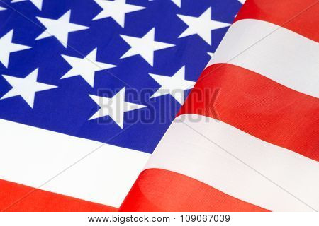 Furls Of American Flag Ripple In Red White And Blue