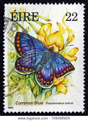 Postage Stamp Ireland 1985 Common Blue, Butterfly