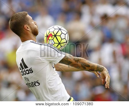 BARCELONA - SEPT, 12: Sergio Ramos of Real Madrid before a Spanish League match against RCD Espanyol at the Power8 stadium on September 12 2015 in BarcelonaSpain